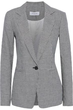 DEREK LAM 10 CROSBY Houndstooth linen and cotton-blend blazer