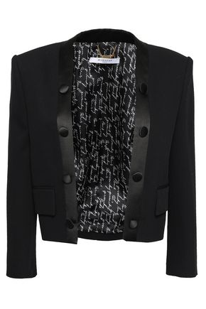 GIVENCHY Button-embellished satin-trimmed wool jacket