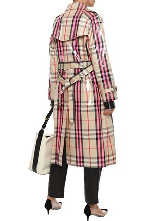 BURBERRY Checked glossed cotton-blend trench coat