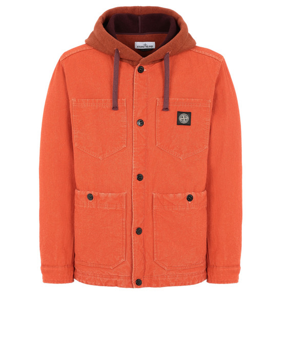 STONE ISLAND 428J1 PANAMA PLACCATO + PANNO JACQUARD Jacket Man Orange