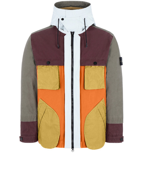 STONE ISLAND 42155 TELA PLACCATA BICOLORE Jacket Man Orange