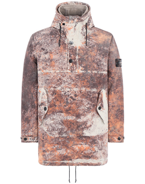 STONE ISLAND 711PA PAINTBALL CAMO_COTTON/CORDURA® Mid-length jacket Man Dark Brown