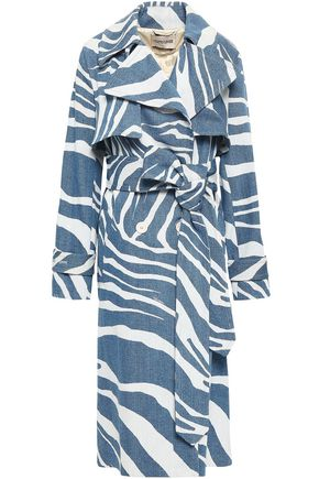 ROBERTO CAVALLI Belted zebra-print denim trench coat