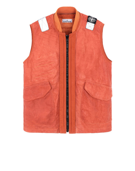 STONE ISLAND 00195 GARMENT DYED LEATHER/DYNEEMA® REVERSIBLE DETACHABLE LINING LEATHER VEST Man Orange