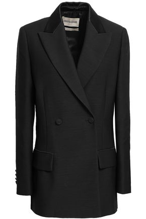 ROBERTO CAVALLI Double-breasted wool and silk-blend twill blazer