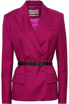 ROBERTO CAVALLI Double-breasted cotton-blend twill blazer