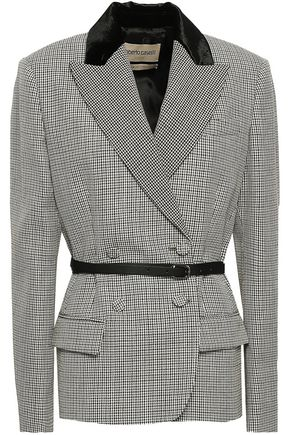 ROBERTO CAVALLI Double-breasted velvet-trimmed houndstooth wool blazer