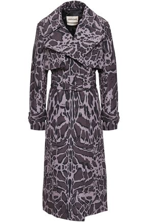 ROBERTO CAVALLI Belted leopard-print shell trench coat