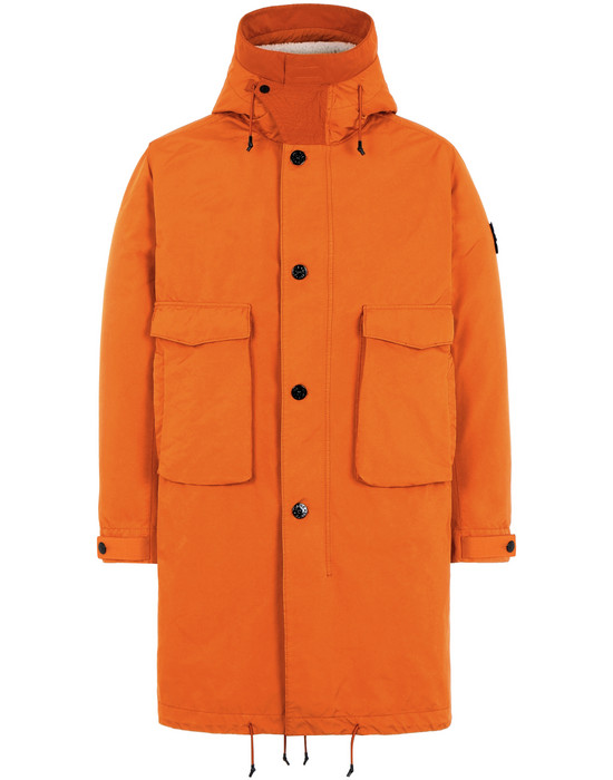 STONE ISLAND 70449 DAVID-TC WITH PANNO JACQUARD_ DETACHABLE LINING Mid-length jacket Man Orange