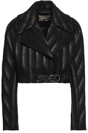 ROBERTO CAVALLI Cropped coated wool-blend jacket