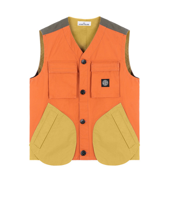 STONE ISLAND G0555 TELA PLACCATA BICOLORE Waistcoat Man Orange
