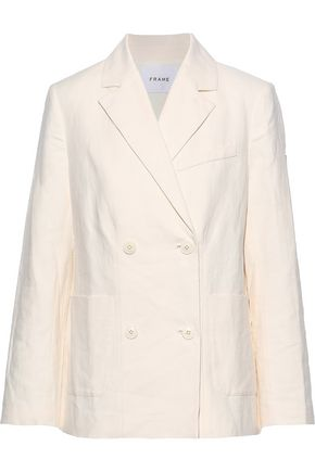 FRAME Double-breasted linen-blend blazer