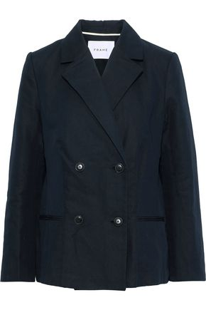 FRAME Double-breasted cotton and linen-blend blazer