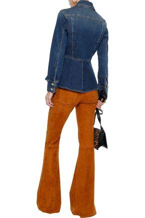 FRAME Faded denim peplum jacket