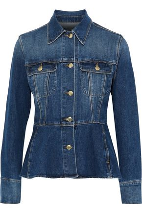 FRAME Faded denim peplum jacket