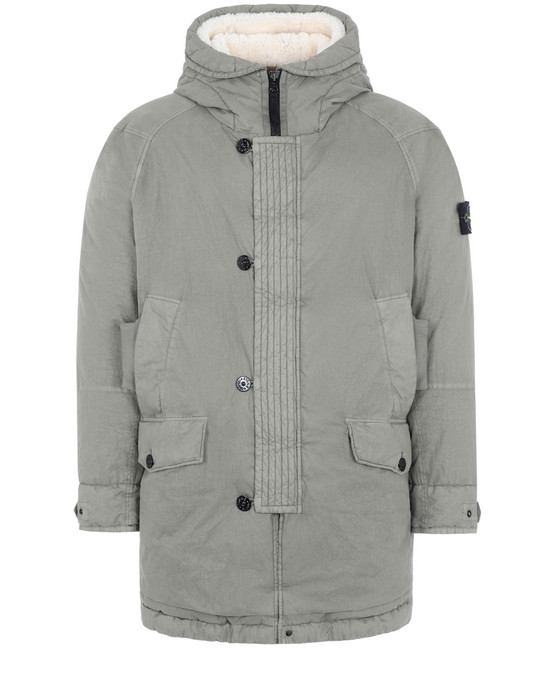 STONE ISLAND Mid-length jacket 71321 50 FILI RESINATA DOWN-TC WITH SHEEPSKIN