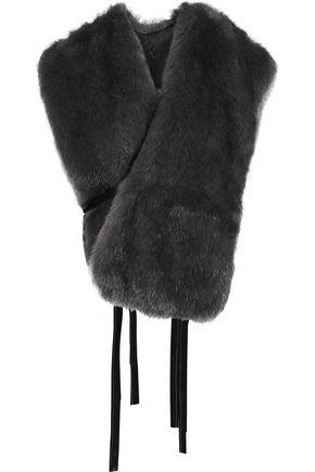 HELMUT LANG Tie-detailed faux fur wrap vest