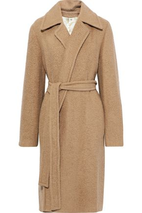 HELMUT LANG Belted brushed alpaca and wool-blend coat
