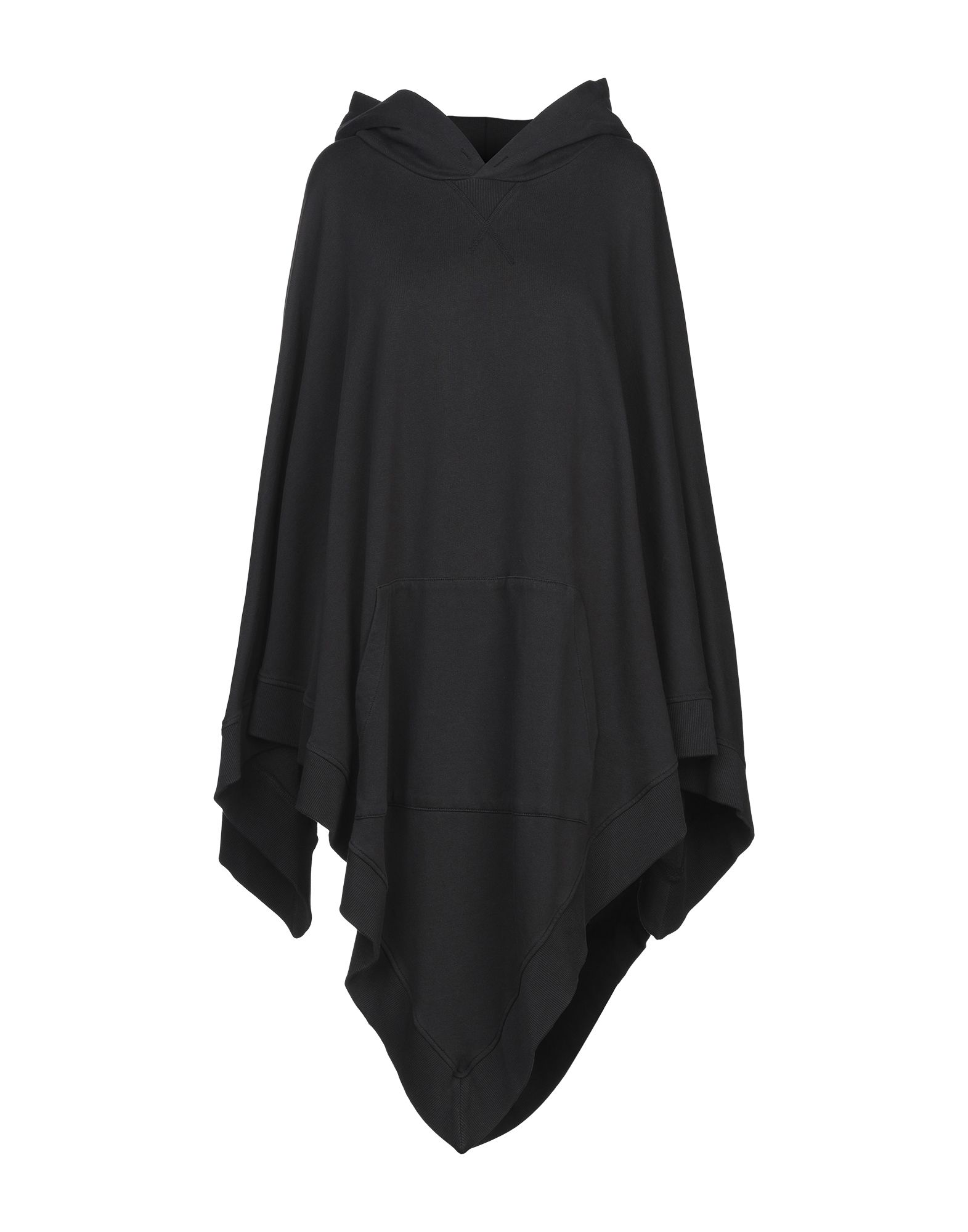 MM6 MAISON MARGIELA Capes & ponchos. sweatshirt fleece, no appliqués, basic solid color, single-breasted, hooded collar, single pocket, sleeveless, french terry lining. 100% Cotton, Elastane