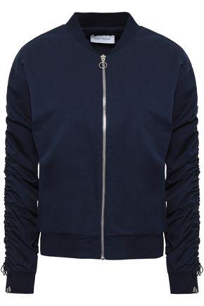NINETY PERCENT Ruched cotton-jersey bomber jacket