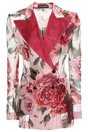 DOLCE & GABBANA Double-breasted satin-trimmed floral-print silk-organza blazer