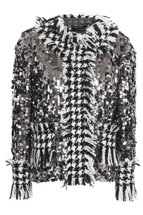 DOLCE & GABBANA Sequined fringed houndstooth tweed jacket