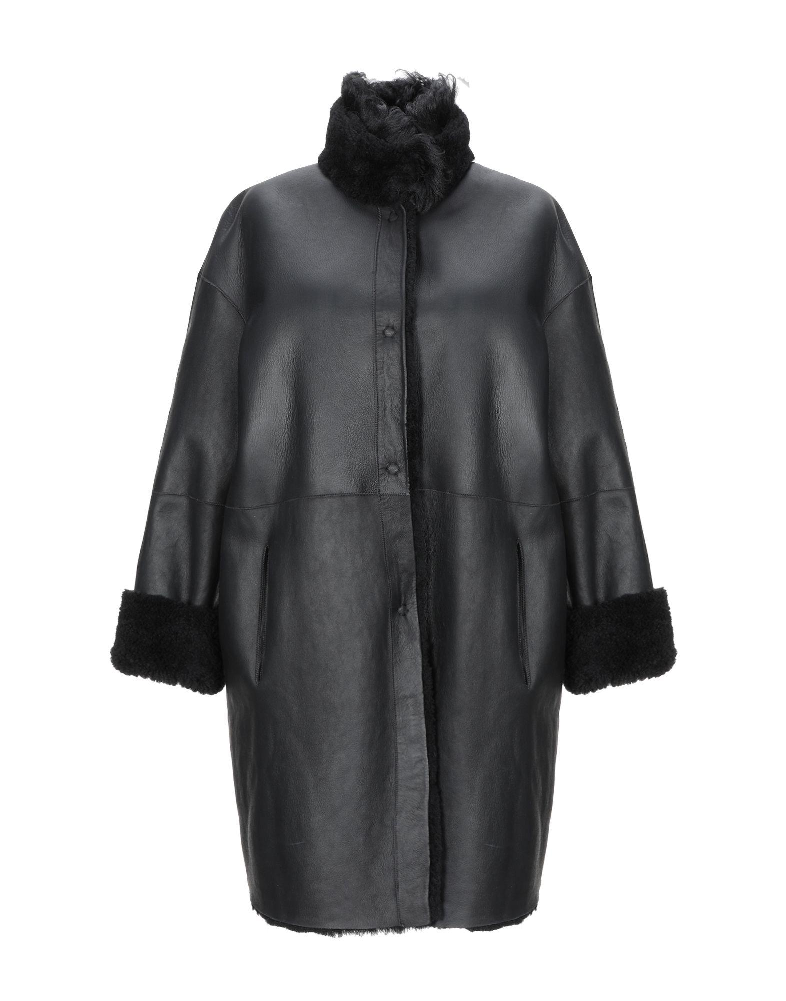 《期間限定 セール開催中》3OTTO3 レディース コート ブラック 42 羊革(ラムスキン) 100%