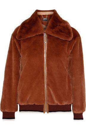 MARKUS LUPFER Gina leather-trimmed faux fur bomber jacket