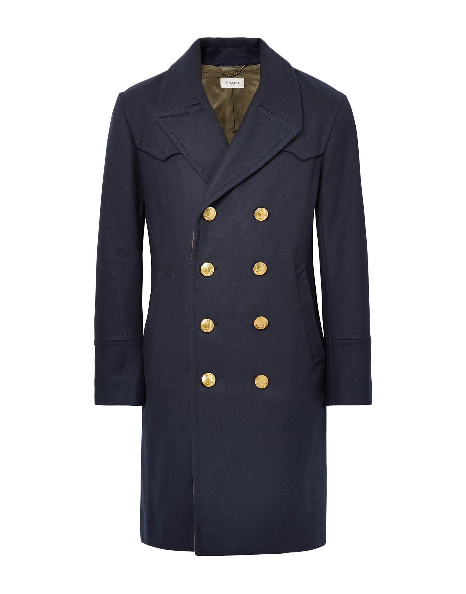 COACH Coats. baize, half-belt, solid color, multipockets, long sleeves, semi-lined, double-breasted, lapel collar, three inside pockets, rear slit. 80% Wool, 20% Nylon