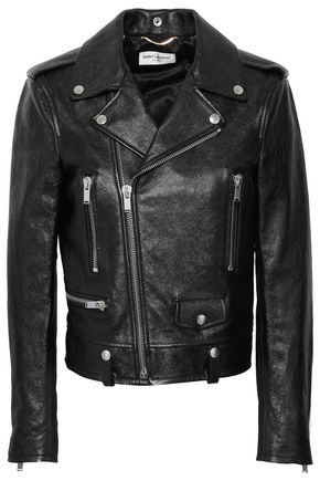 SAINT LAURENT Textured-leather biker jacket