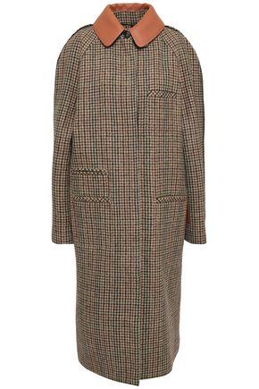 LOEWE Leather-trimmed houndstooth wool coat