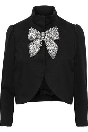 ALICE + OLIVIA Addison cropped bow-embellished cady jacket