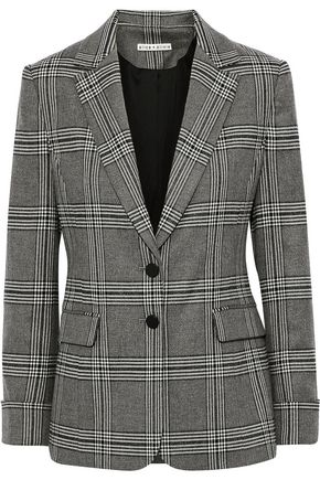 ALICE + OLIVIA Paulene metallic checked brushed-twill blazer