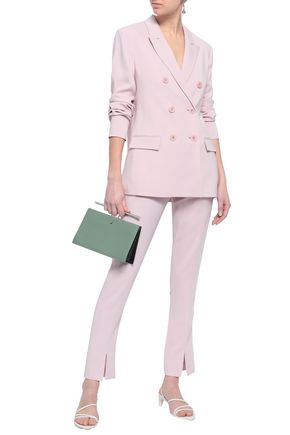 Tibi Woman Double-Breasted Crepe Blazer Lilac