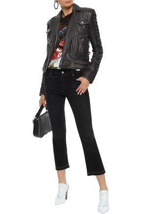 BALMAIN Lace-up washed-leather biker jacket