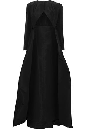 ZAC POSEN Asymmetric cape-back silk-faille jacket
