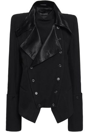 ANN DEMEULEMEESTER Double-breasted satin-trimmed wool-blend twill jacket