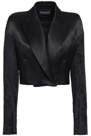 ANN DEMEULEMEESTER Cropped jacquard-paneled cotton-blend sateen blazer