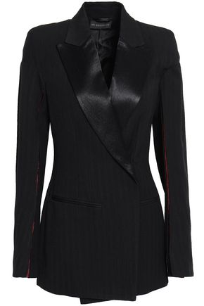 ANN DEMEULEMEESTER Double-breasted satin-trimmed herringbone wool-blend blazer