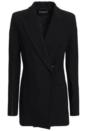 ANN DEMEULEMEESTER Double-breasted satin-trimmed crepe blazer