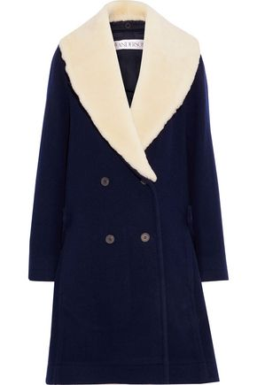 J.W.ANDERSON Swing double-breasted shearling-trimmed wool coat