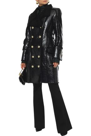 Balmain Double-breasted Shearling And Glossed Cracked-leather Coat In Black
