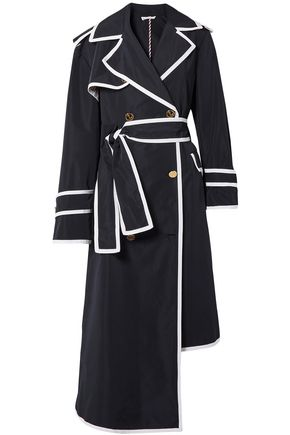 THOM BROWNE Asymmetric grosgrain-trimmed shell trench coat