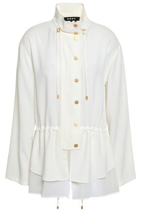 DKNY Gathered tiered crepe and georgette peplum blouse