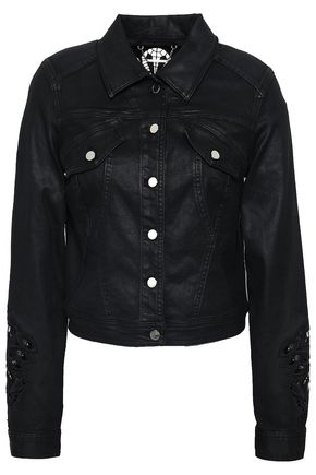ELIE TAHARI Meggy guipure lace-trimmed coated-denim jacket