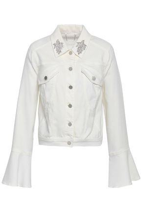 ELIE TAHARI Appliquéd denim jacket