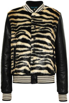 MOTHER Paneled zebra-print faux fur and leather jacket