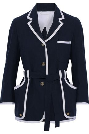 THOM BROWNE Belted grosgrain-trimmed cotton-crepe jacket