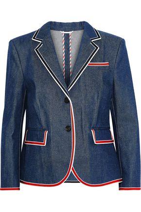 Thom Browne Blazers Grosgrain-trimmed denim blazer