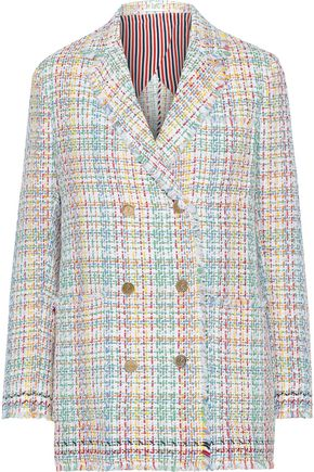 THOM BROWNE Double-breasted cotton-blend tweed blazer